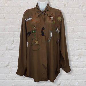 RARE 100% Silk Cat Shirt Havana by the Hero Group
